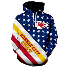 Load image into Gallery viewer, American Flag Kansas City Chiefs 3D Hoodie
