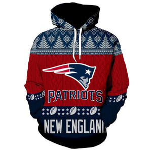 New England Patriots 3d Hoodie Christmas Edition