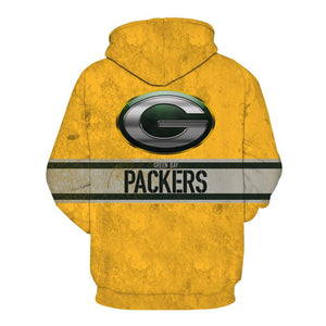 Green Bay Packers 3D Yellow Hoodies