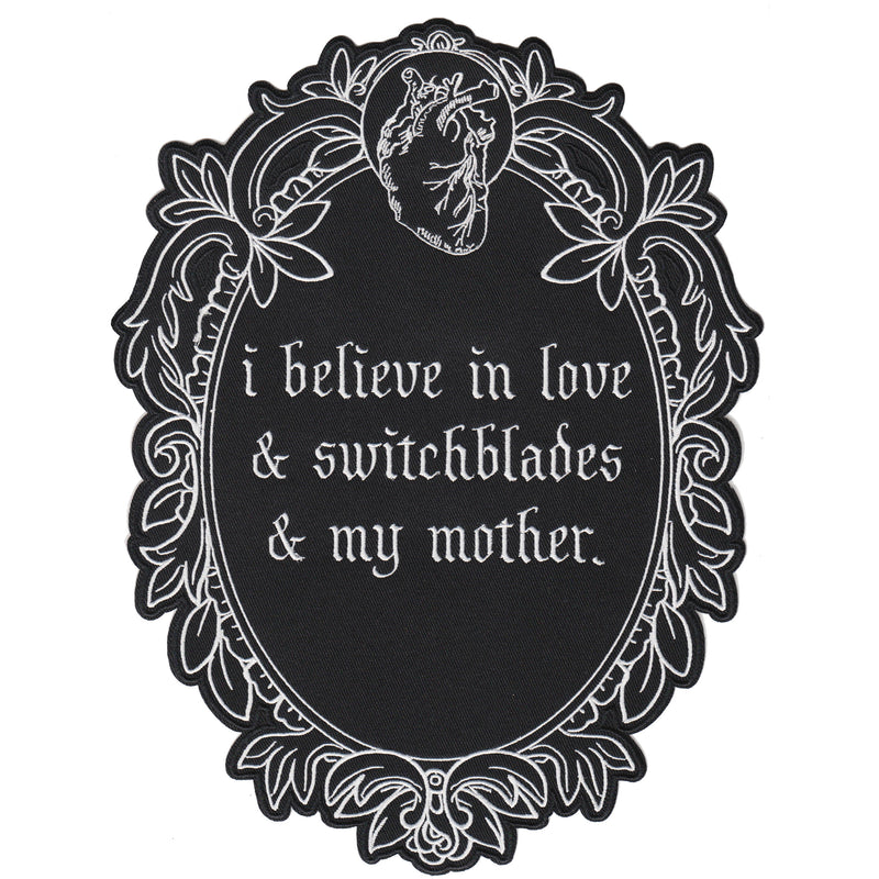 """Love/Switchblades/Mother"" Large Embroidered Back Patch"