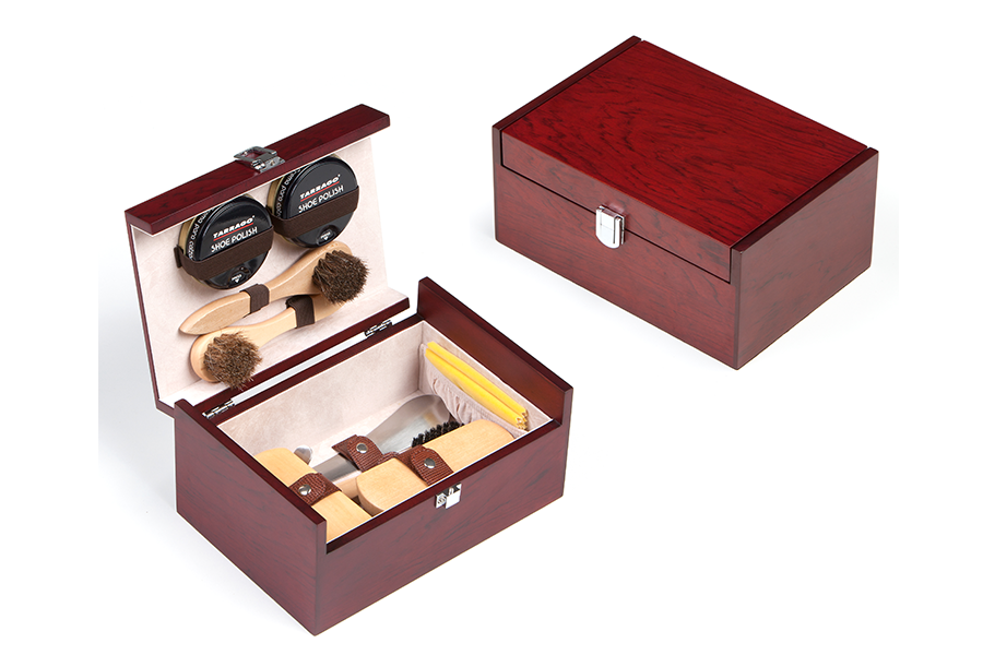 Wooden Kit For Shoe Care - Mahogany