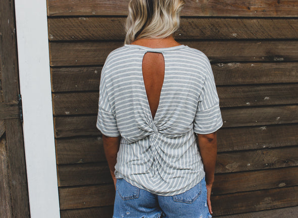 Striped Short Sleeve Top with Knotted Back - Beautifulee Made Boutique