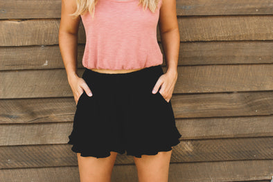 Black High Waist Ruffle Trim Shorts with Side Pockets - Beautifulee Made Boutique Fashion Clothing Tops, Dresses, Bottoms, Rompers, Jumpsuits, Skirts, Shorts, Pants