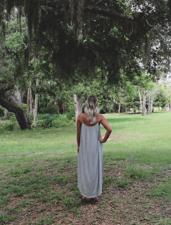 Grey Spaghetti Strap Maxi Dress - Beautifulee Made Boutique Fashion Clothing Tops, Dresses, Bottoms, Rompers, Jumpsuits, Skirts, Shorts, Pants