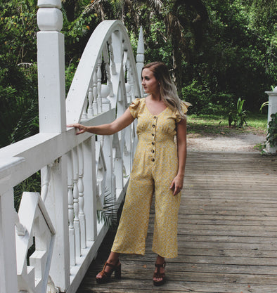 Ditsy Floral Button-Down Jumpsuit - Beautifulee Made Boutique
