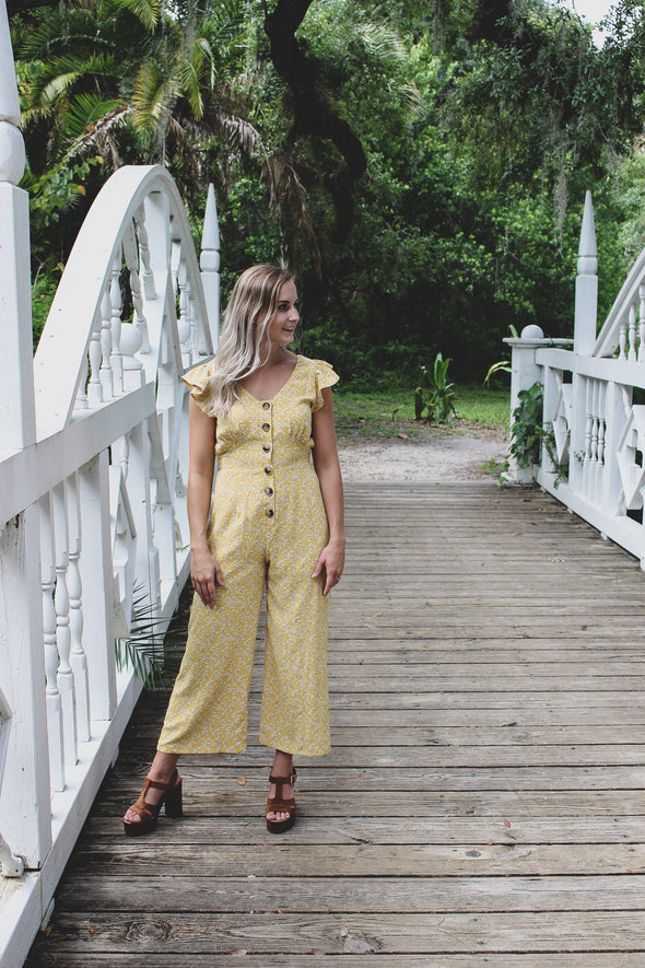 Ditsy Floral Button-Down Jumpsuit - Beautifulee Made Boutique Fashion Clothing Tops, Dresses, Bottoms, Rompers, Jumpsuits, Skirts, Shorts, Pants