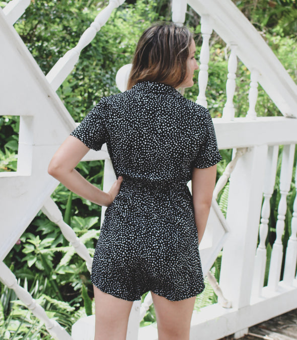 Short Sleeve Button Down Dot Print Romper with Collar - Beautifulee Made Boutique Fashion Clothing Tops, Dresses, Bottoms, Rompers, Jumpsuits, Skirts, Shorts, Pants