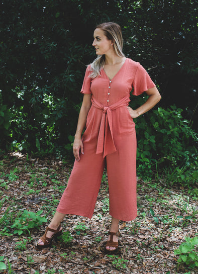 Terracotta Short Sleeve Cropped Jumpsuit with Front Tie Waist Sash - Beautifulee Made Boutique Fashion Clothing Tops, Dresses, Bottoms, Rompers, Jumpsuits, Skirts, Shorts, Pants