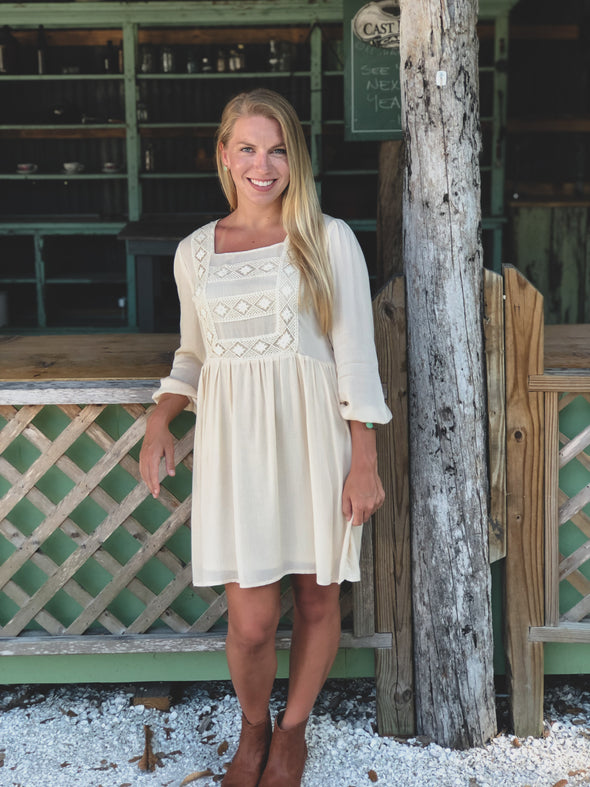 Natural Long Sleeve Dress with Crochet Details - Beautifulee Made Boutique
