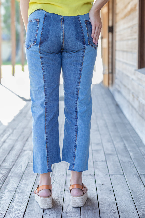Two Tone Denim Jeans - Beautifulee Made Boutique Fashion Clothing Tops, Dresses, Bottoms, Rompers, Jumpsuits, Skirts, Shorts, Pants
