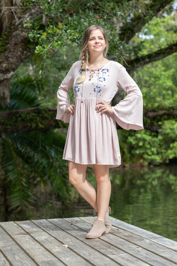 Dusty Pink Bell Sleeve Dress - Beautifulee Made Boutique Fashion Clothing Tops, Dresses, Bottoms, Rompers, Jumpsuits, Skirts, Shorts, Pants