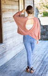 Clay Long Sleeve Knit Top with Open Back - Beautifulee Made Boutique Fashion Clothing Tops, Dresses, Bottoms, Rompers, Jumpsuits, Skirts, Shorts, Pants