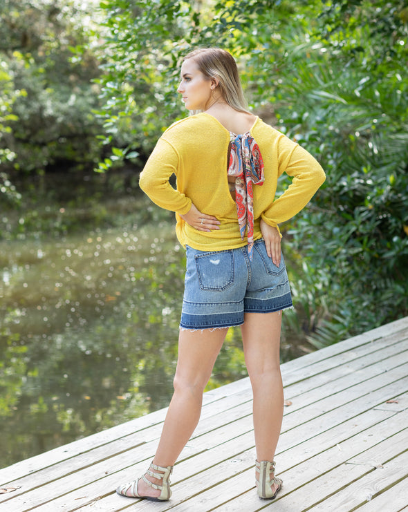 Mustard Long Sleeve Knit Top with Open Back and Paisley Tie - Beautifulee Made Boutique