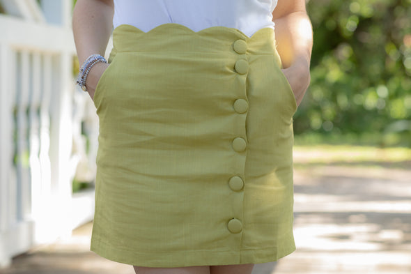 Lime Scalloped Button-Front Mini Skirt - Beautifulee Made Boutique Fashion Clothing Tops, Dresses, Bottoms, Rompers, Jumpsuits, Skirts, Shorts, Pants