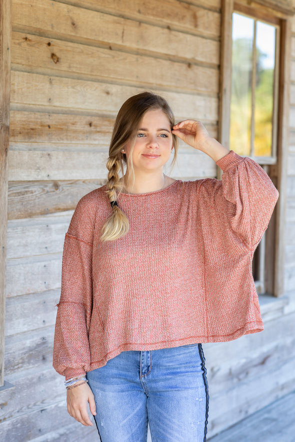 Clay Long Sleeve Knit Top with Open Back - Beautifulee Made Boutique