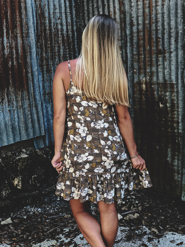 Mocha Floral and Plaid Print Spaghetti Strap Ruffled Skirt Dress with Embroidered Diamond Detail on the Front - Beautifulee Made Boutique Fashion Clothing Tops, Dresses, Bottoms, Rompers, Jumpsuits, Skirts, Shorts, Pants