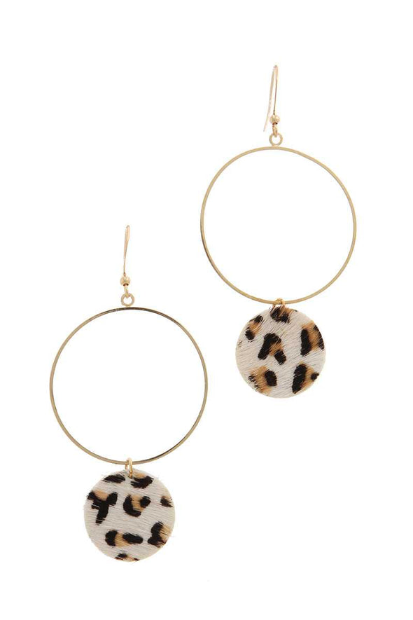 Animal Print Circle Dangle Drop Earring - Beautifulee Made Boutique