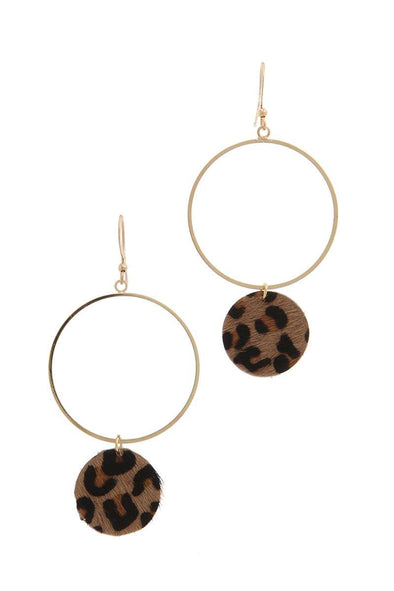 Animal Print Circle Dangle Drop Earring - Beautifulee Made Boutique Fashion Clothing Tops, Dresses, Bottoms, Rompers, Jumpsuits, Skirts, Shorts, Pants