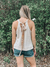 Taupe Sleeveless Knit Top With Paisley Back-Tie - Beautifulee Made Boutique
