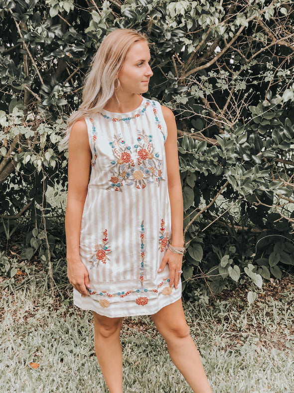 Striped Sleeveless Dress with Floral Embroidery Detail - Beautifulee Made Boutique Fashion Clothing Tops, Dresses, Bottoms, Rompers, Jumpsuits, Skirts, Shorts, Pants