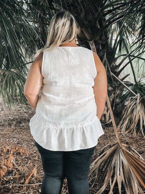 White Washed Linen V-Neck Ruffle Hem Peplum Tank Top - Beautifulee Made Boutique Fashion Clothing Tops, Dresses, Bottoms, Rompers, Jumpsuits, Skirts, Shorts, Pants