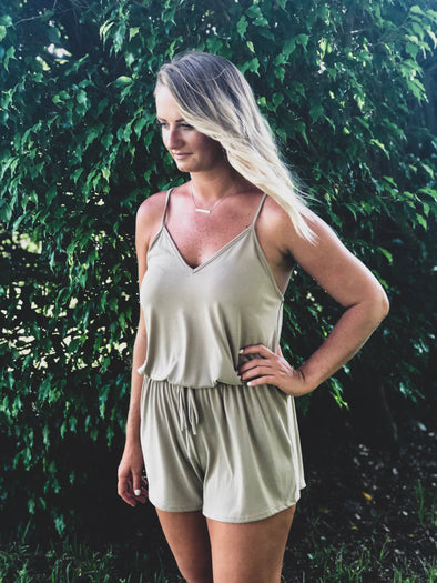 Taupe Spaghetti Strap Romper with Tie Front - Beautifulee Made Boutique