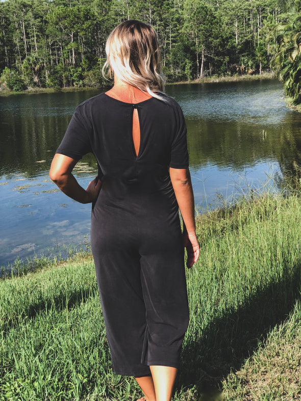 Black Short Sleeve Jumpsuit with V-Neck and Front Tie Adjustment - Beautifulee Made Boutique Fashion Clothing Tops, Dresses, Bottoms, Rompers, Jumpsuits, Skirts, Shorts, Pants
