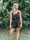 Black Button-Up V-Neck Romper with Lace Trim Details - Beautifulee Made Boutique Fashion Clothing Tops, Dresses, Bottoms, Rompers, Jumpsuits, Skirts, Shorts, Pants