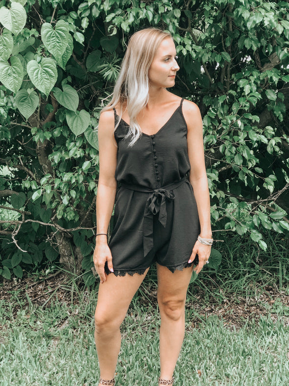 Black Button-Up V-Neck Romper with Lace Trim Details - Beautifulee Made Boutique