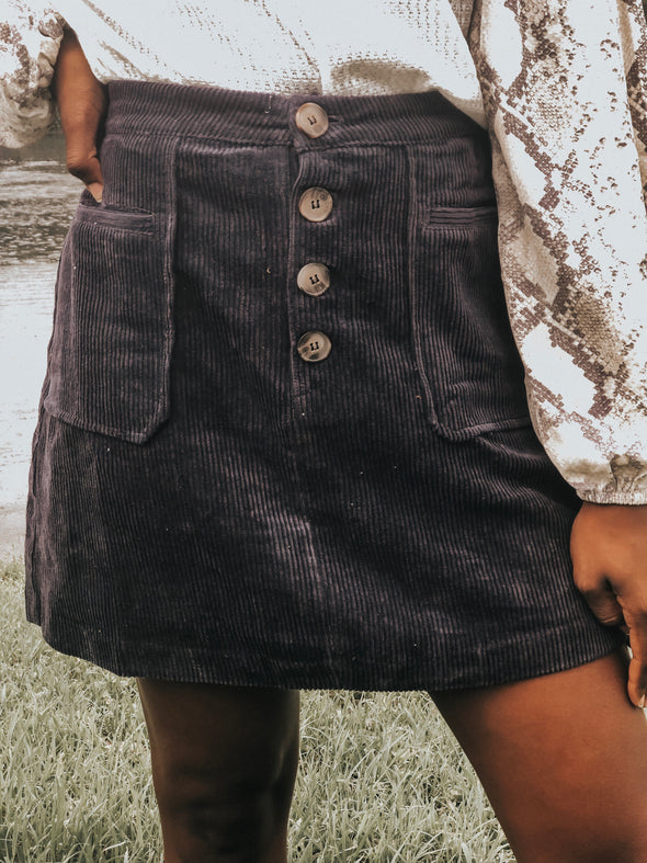 Navy Blue Button-Down Corduroy Mini Skirt - Beautifulee Made Boutique Fashion Clothing Tops, Dresses, Bottoms, Rompers, Jumpsuits, Skirts, Shorts, Pants