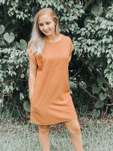 Clay Round Neck Dress with Button Down Detail in the Back - Beautifulee Made Boutique Fashion Clothing Tops, Dresses, Bottoms, Rompers, Jumpsuits, Skirts, Shorts, Pants