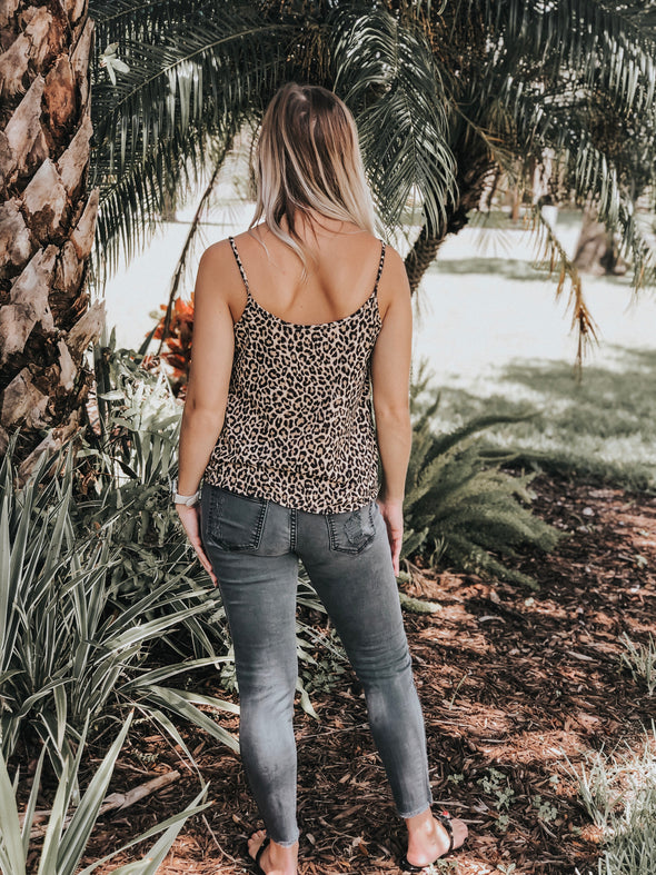 Leopard Print Knit Camisole with Tie and Button Front - Beautifulee Made Boutique Fashion Clothing Tops, Dresses, Bottoms, Rompers, Jumpsuits, Skirts, Shorts, Pants