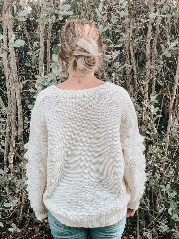 Creamy White V-Neck Sweater with Fray Detailed Sleeve - Beautifulee Made Boutique