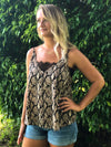 Brown Snake Print Camisole With Lace Lining - Beautifulee Made Boutique