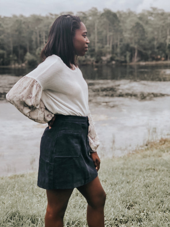 Navy Blue Button-Down Corduroy Mini Skirt - Beautifulee Made Boutique