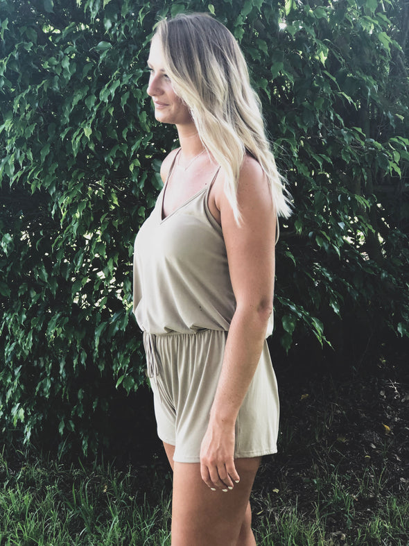 Taupe Spaghetti Strap Romper with Tie Front - Beautifulee Made Boutique Fashion Clothing Tops, Dresses, Bottoms, Rompers, Jumpsuits, Skirts, Shorts, Pants