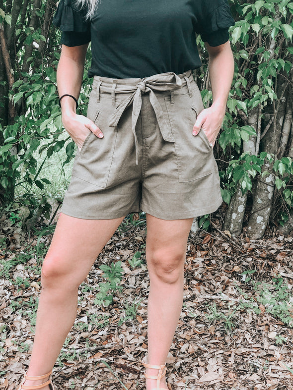 Olive Belted Linen Shorts with Tie Front - Beautifulee Made Boutique Fashion Clothing Tops, Dresses, Bottoms, Rompers, Jumpsuits, Skirts, Shorts, Pants