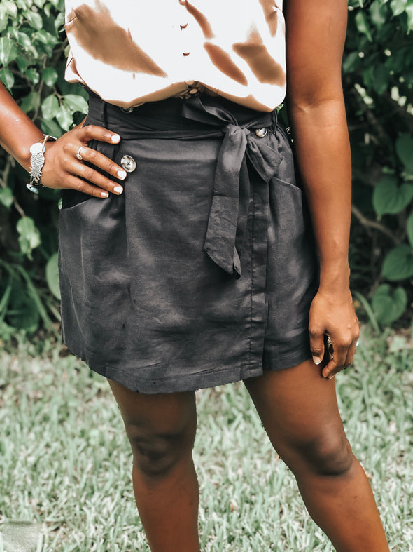Black Overlay Shorts with Non-Functional Button Detail - Beautifulee Made Boutique