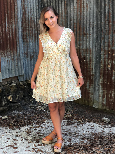 Ivory Floral Print V-neck Dress with Ruffle Details - Beautifulee Made Boutique Fashion Clothing Tops, Dresses, Bottoms, Rompers, Jumpsuits, Skirts, Shorts, Pants