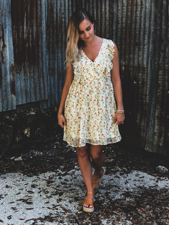 Ivory Floral Print V-neck Dress with Ruffle Details - Beautifulee Made Boutique