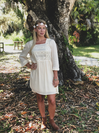 Natural Long Sleeve Dress with Crochet Details - Beautifulee Made Boutique Fashion Clothing Tops, Dresses, Bottoms, Rompers, Jumpsuits, Skirts, Shorts, Pants