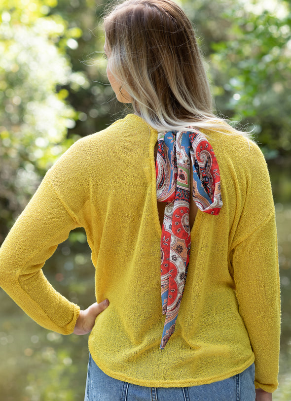 Mustard Long Sleeve Knit Top with Open Back and Paisley Tie - Beautifulee Made Boutique Fashion Clothing Tops, Dresses, Bottoms, Rompers, Jumpsuits, Skirts, Shorts, Pants