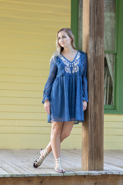 Long Sleeve Slate Blue Lace Dress with Embroidery and Ruffle Details - Beautifulee Made Boutique Fashion Clothing Tops, Dresses, Bottoms, Rompers, Jumpsuits, Skirts, Shorts, Pants