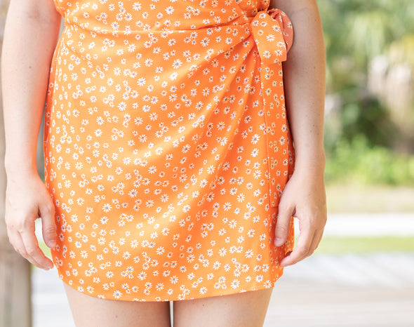 Tangerine Spaghetti Strap Floral Print Side Tie Romper - Beautifulee Made Boutique Fashion Clothing Tops, Dresses, Bottoms, Rompers, Jumpsuits, Skirts, Shorts, Pants