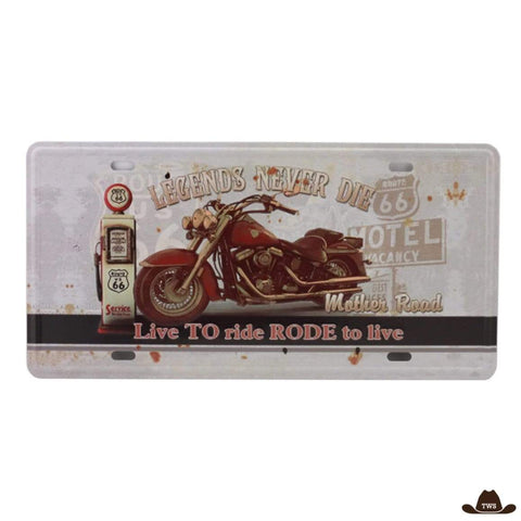 Plaque Métal Live to Ride Rode to Live