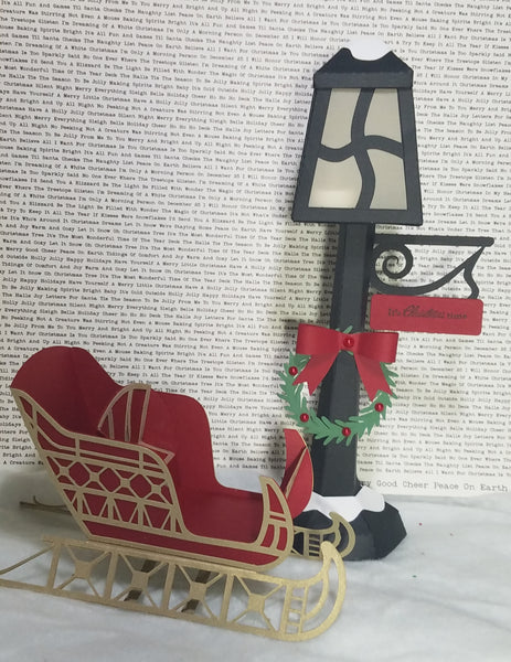 Christmas Sleigh and Lamp Post 3D Paper Craft Project