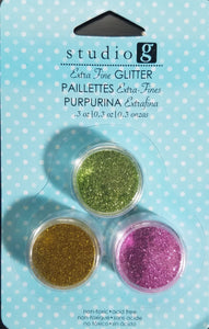 Studio G Glitter Extra Fine 3 pack Light Green, Gold and Pink