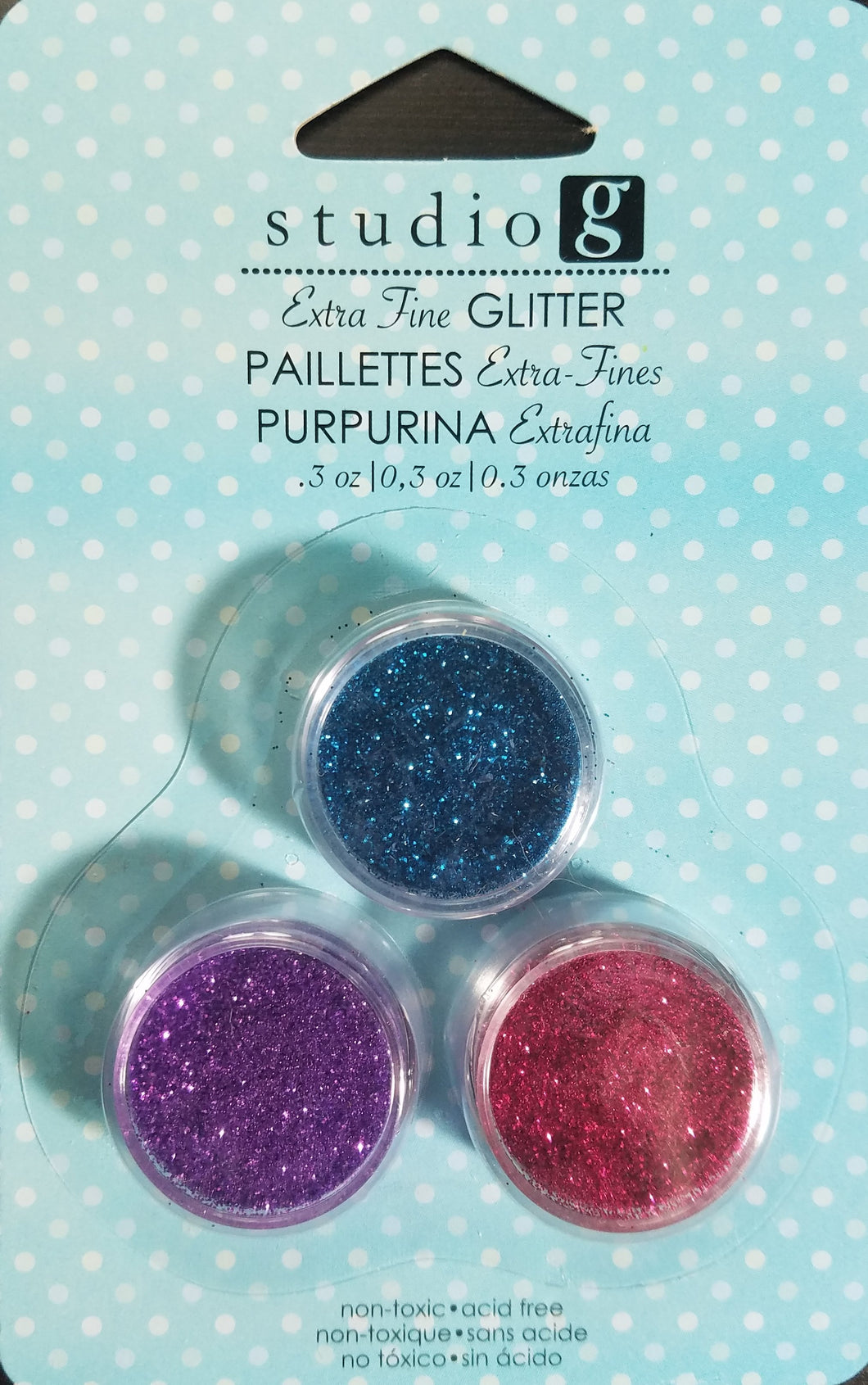 Studio G Glitter Extra Fine 3 pack Blue, Pink and Purple