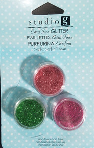Studio G Glitter Extra Fine 3 pack Green, Rose and Fuschia