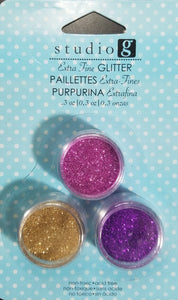 Studio G Glitter Extra Fine 3 pack Pink, Purple and Gold